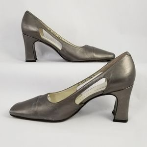 Martinez Valero Metallic Grey Square Toe Heels 7.5